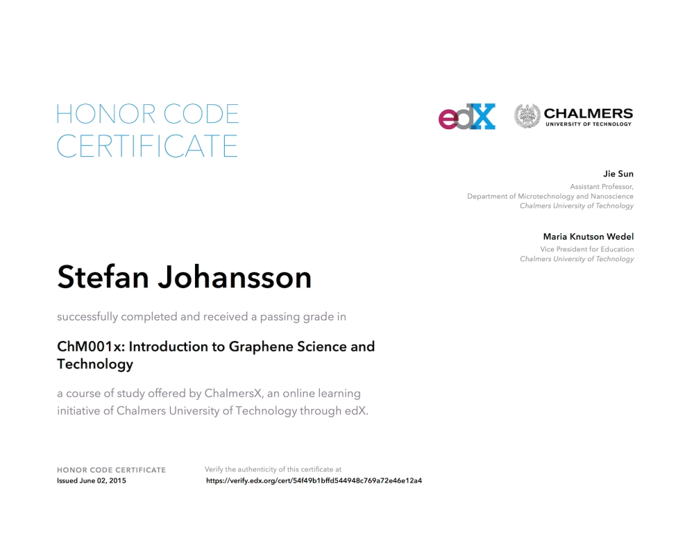 ChM001x, Introduction to Graphene Science and Technology - Certificate