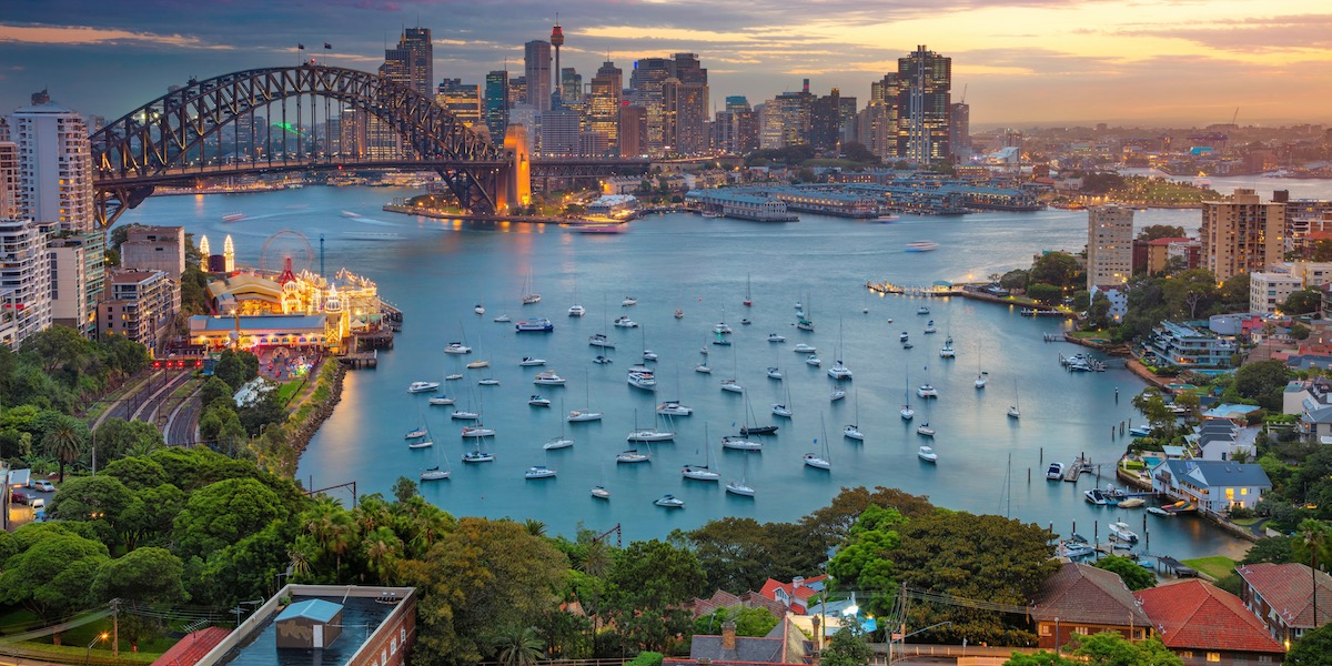 Sydney, Australia, Harbour Bridge during sunset